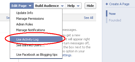 Scheduling post on facebook. Activity log