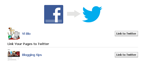 Link Fcebook profile to Twitter. Select page