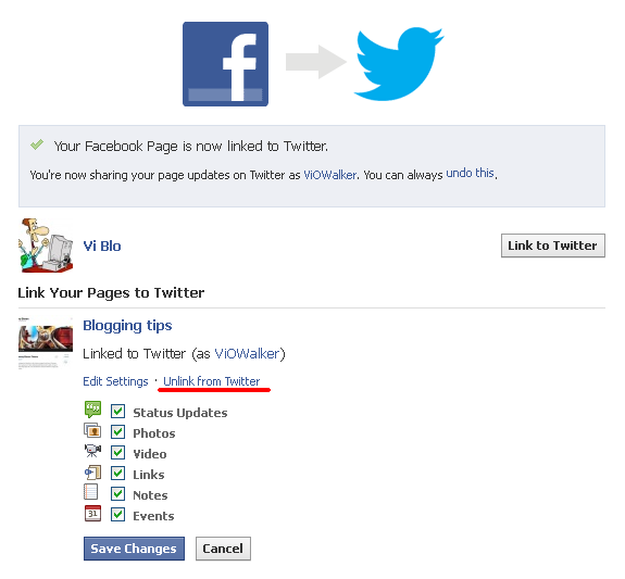 Link Facebook Page to Twitter. Settings