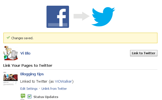 Link Facebook Page to Twitter. Save settings