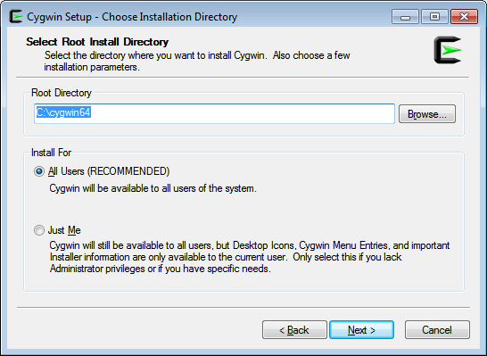 Choose installation directory