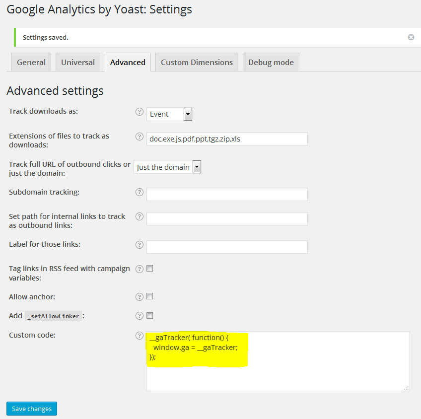 Google Analytics Yoast settings: custom code