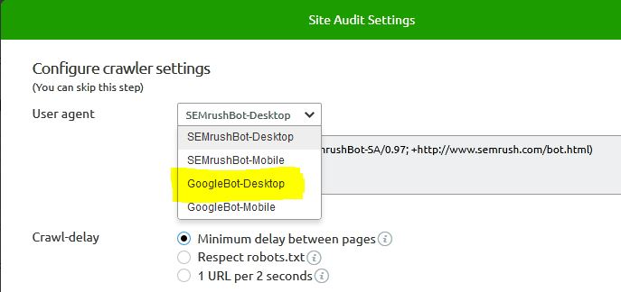 SEMrush audit user agent