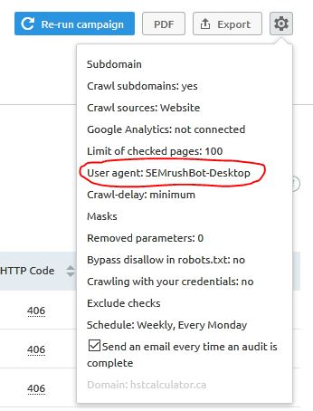 SEMrush audit settings