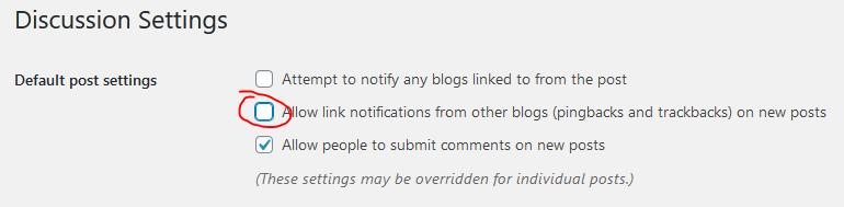 Wordpress Pingbacks Settings