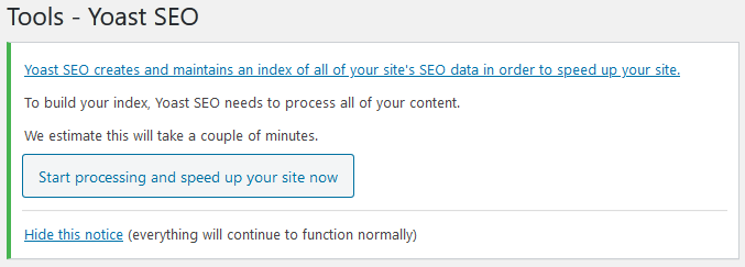 Yoast SEO Tools Start processing and speed up your site