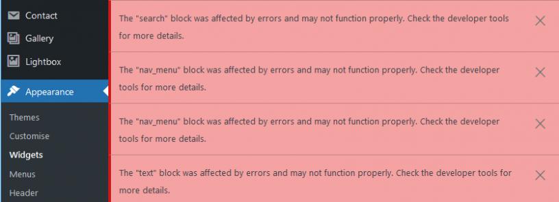 WordPress widgets error