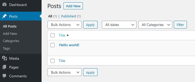 default WordPress Hello World post