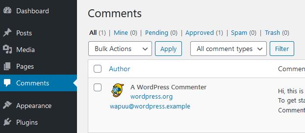 WordPress sample comment
